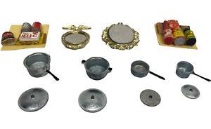 Vintage Dollhouse Kitchen Accessories Pots Pans Mirrors Food Metal