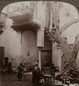 Egypt. Cairo Harem Windows in the Court of a Wealthy Cairene's House. Stereoview
