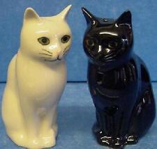 QUAIL DAISY & LUCKY BLACK & WHITE CAT SALT & PEPPER POTS CONDIMENT OR CRUET SET