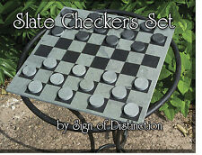 100% Natural Slate Checkerboard & Checkers Set - Ships SAME Business Day & FREE!