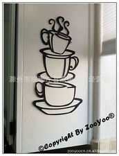 Wall Stickers Vinyl Art Kitchen Dining Room Decor Coffee House Cup Cafe  Decal