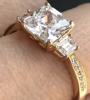 14k solid RING Yellow Gold princess Round manmade Diamond Engagement Size 6 7 8