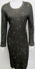 CHANEL Knit Dress Long Sleeve Gold Metallic Pin CC Logo Black 48 Large 16