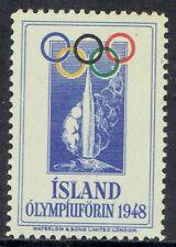 Iceland.  Beautiful 1948 Olympic Games souvenir stamp.  MNH.  Rare.