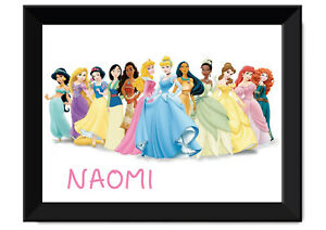 Disney Princesses Framed Poster - Personalised with name - Available in A3 & A2