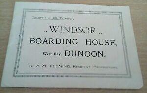 Brochure Windsor Boarding House West Bay Dunoon R & M Fleming