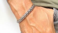 silver cuff braided bracelet 925 sterling artisan men women bangle solid vintage
