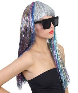 Adult Long Rainbow Tinsel Wig Halloween Cosplay Party Fancy Dress Hair HW-1669A