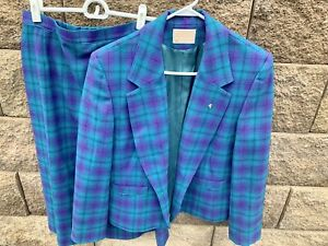 Vintage Pendleton Women's Wool Suit Blazer Skirt Set