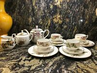 KOSHIDA TEA SET, 4 DELICATE CUP/SAUCER/PLATE PATTERNS, TEA POT, C&S