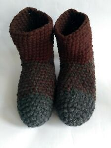Crochet men`s wool slippers / Gray brown/ Size USA 9-10 Home shoes, Unisex boots