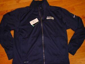 New Mens L Nike Seattle Seahawks Track Jacket Full Zipper Large Football