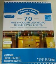 Holiday Time LED Multi-Colored Icicle Lights, 70-Count 11 feet white wire NEW