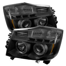 Compatible Nissan 04-15 Titan / Armada Humo Negro Dual Halo Led Faros