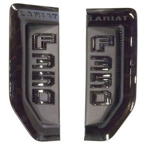 NEW OEM 17-20 Ford F350 Super Duty Lariat Sport Fender Emblem LH RH Set Black