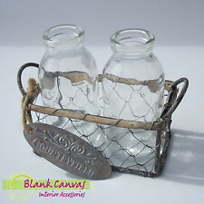 Rustic Vintage Style Shabby Chic x2 Bottles in Wire Basket Trug - BRAND NEW