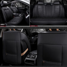 Deluxe 5Seats PU Leather Full Car Seat Cover Kit Cushion Pad Diamond Pattern NEW