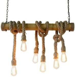 Lampadario a sospensione 4 6 8 corde bambù e27 pendente corda vintage luce led