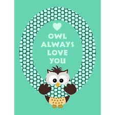 Quote Type Text Graphic Cartoon Owl Love Blue Unframed Wall Art Poster