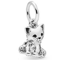 Pandora S925  ALE Sterling Silver Kitten Sweet Cat Pendant Charm + Free Pouch