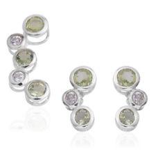 WHITE LIGHT GREEN SIMULATED DIAMOND BEZEL STERLING EARRINGS PENDANT SET 3CT