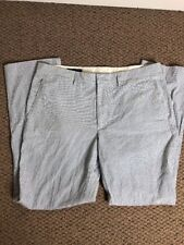 J Crew Seersucker Pants Mens 35 X 32 Blue/White 100% Cotton