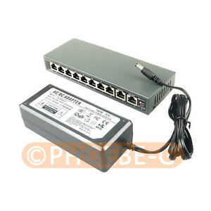 DSLRKIT 250M 10 Ports 8 PoE Switch Injector Power Over Ethernet