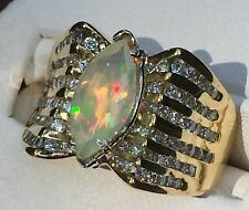 14 K YG 2.05TCW.  1.09ct. Natural Opal 96 Diamonds Appraised At $3200 #1377