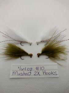 4 pack 1/64 oz hand tied Marabou jigs steelhead trout MUSTAD 2X crappie bass