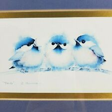Trio Bird Print Signed Pfeiffer Chickadees