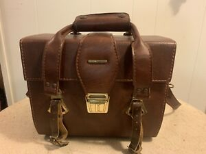 VINTAGE TUCHY Leather Camera Bag With Shoulder Strap Brown Red Interior