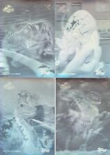 1993 JURASSIC PARK SERIES 1 HOLOGRAM STICKER TRADING CARD SET 1-4