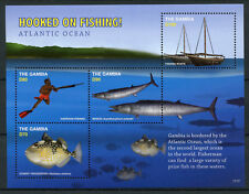 Gambia 2017 MNH Hooked on Fishing 4v M/S Wahoo Fish Boats Ships Stamps