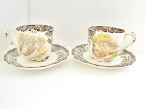 Two * Pheasant * CUPS & SAUCERS Game Series PALISSY Royal Worcester Group
