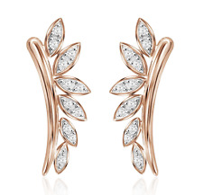 Ear Climbers 10K Rose Gold Diamond Climbing Earrings .25ct Petal Marquise Shape
