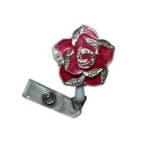 Fashion Retractable Red Bling Flower Reels ID Document Card Clip Badge Holders