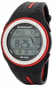 Dunlop Unisex Digital Watch with LCD Dial Digital Display and Black Plastic or P