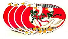VINTAGE FOAM VINYL CHRISTMAS GOOSE PLACEMATS SET OF 4 RETRO KITSCHY HOLIDAY  DUC