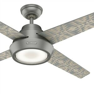 Hunter Fan 54 in Contemporary Matte Silver Ceiling Fan with Light Kit and Remote