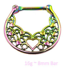Rainbow Heart Septum Clicker Surgical Steel Nose Ring Daith Hanger Piercing Bar