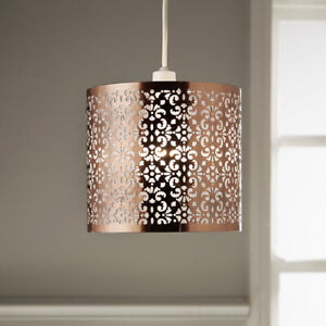 Ceiling Pendant with Antique Copper Stencil Finish Non Electric Light Shade