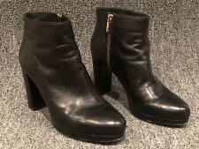 Michael Kors Black Leather Platform Side Zip Ankle Boots Womens Size 9M