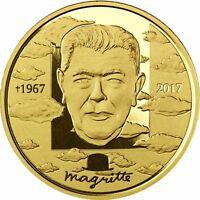 Belgien 100 Euro Gold René Magritte 2017 PP Goldmünze Polierte Platte im Etui
