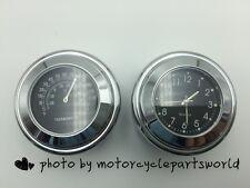 7/8''-1'' Motorcycle Bike Handlebar Mount Black Dial Clock Watch&Thermometer