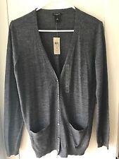 Ann Taylor Women's Grey Cardigan Sweater Jewel Buttons Size Medium NWT
