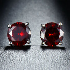 Female Multicolor Round Sapphire Stud Earrings 925 Silver Wedding Jewelry Gifts