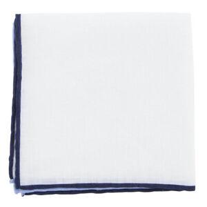 $100 Fiori Di Lusso White Solid Linen Pocket Square -  x  - (905)