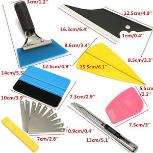 8Pcs Squeegee Car Window Tinting Film Wrapping Install Tools Kits Plastic/Rubber