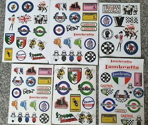 scooter themed stickers  - vespa, lambretta ,ska, all stickers shown