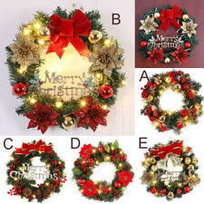 Christmas Wreath LED Light Door Hanging Garland Window Wall Ornament Party Decor